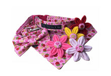 Strawberries and Roses dog bandana, lead bow and flowers. matching accessories to co-ordinate with the dog collar