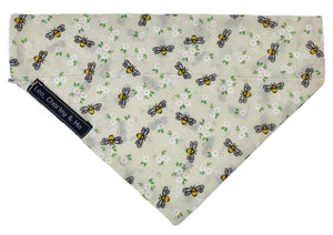 Cream Manchester Bee dog bandana in cotton print. Handmade in the U.K. and washable. Matches the Manchester Bee dog collar, lead and bow tie.