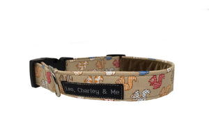 Squirrel print fabric dog collar in coffee coloured cotton fabric. Washable and handmade.
