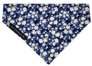 Washable floral cotton dog bandana in shades of denim. Co-ordinates with our Floral denim dog collar.