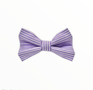 Handmade dog bow tie in cotton print. Made by hand in the U.K. and washable. Lilac candy stripe cotton poplin dog bow tie.