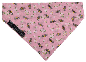 Washable cotton dog bandana, Tiny bees and flowers printed onto a pink background.