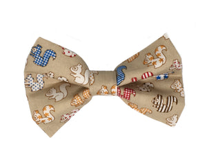 Squirrel print coffee coloured dog bow tie. Handmade.