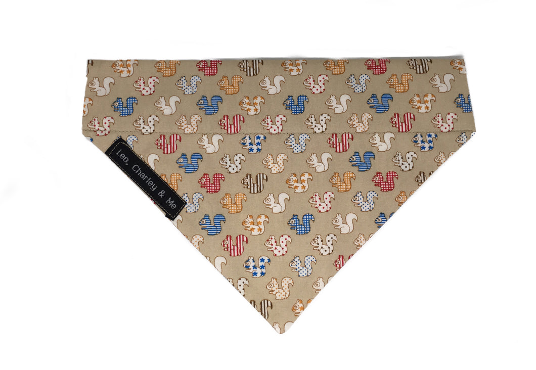 Squirrel print dog bandana on coffee coloured fabric