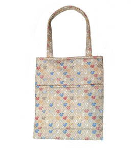 Cute padded cotton tote bag in a Squirrel print on a coffee coloured poplin fabric.