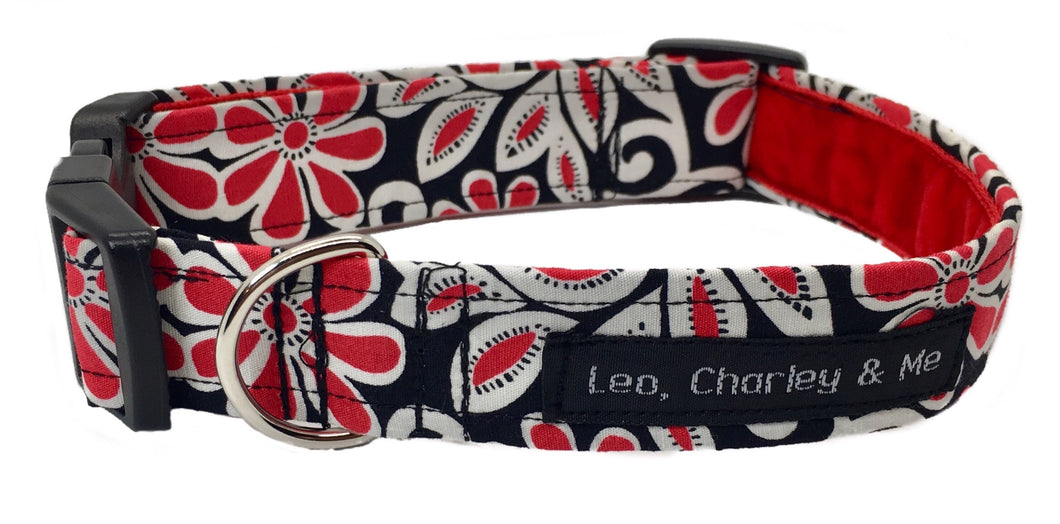 Beautiful black red and cream floral print dog collar with a soft red velvet ribbon lining. Hand made in the U.K. and washable.