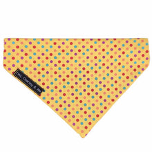 Sunshine Spot yellow dog bandana. Matches our range of Sunshine Spot dog collars and accessories. Hand made in the U.K. and washable