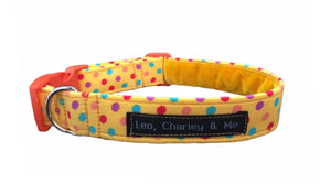 Bright yellow summer washable cotton dog collar with polka dot print