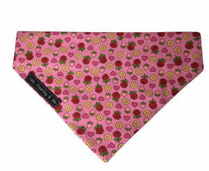 Strawberries and Roses cotton poplin dog bandana hand made to co-ordinate with our comfy dog collar.