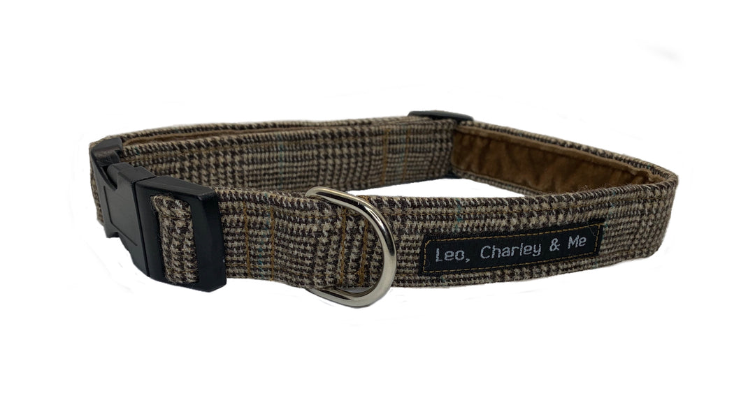 Prince of Wales checked dog collar