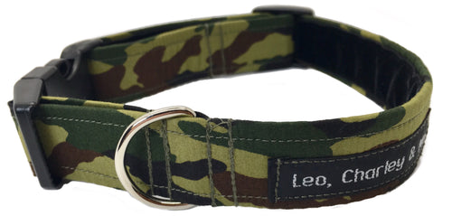 Washable dog collar in camoflage greens with soft velvet lining.