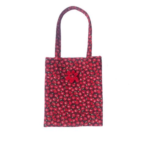 Padded Cotton Tote bag with pockets in bright and vibrant red Poppy floral poplin fabric. Made in the U.K. and washable.