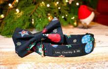 Christmas cotton poplin dog bandana and bow tie in navy with festive stockings, snowflakes,stars and baubles. Handmade in the U.K. and washable