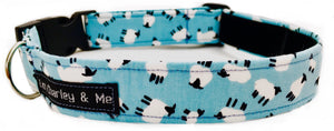Washable cotton dog collar in blue with tiny sheep print. Lined with soft velvet.