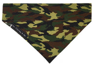 Handmade washable dog bandana in green cotton poplin Camouflage print. Made in the UK