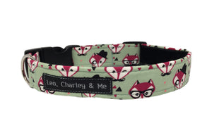 Foxy Gentleman sage green fabric dog collar printed with foxy faces.