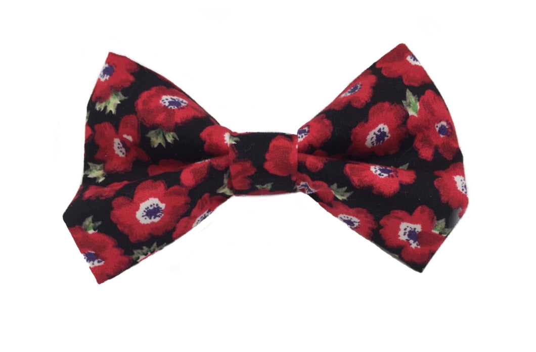 Red Poppy dog bow tie. Handmade from cotton poplin fabric with a Poppy print.