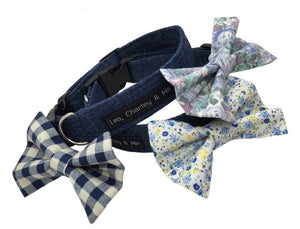 Upcycled denim dog collars with co-ordinating cotton bow ties. Hand made in the U.K. and washable.