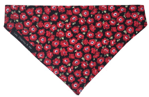 Red Poppy dog bandana handmade from soft cotton poplin.