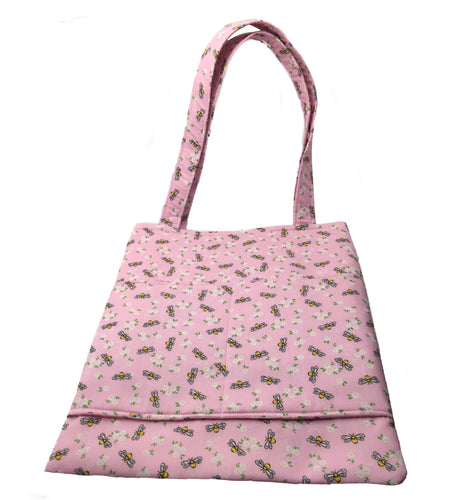 Cotton tote bag to match our dog collars, leads, bandanas and bows. Washable pink cotton fabric printed with bees and flowers.