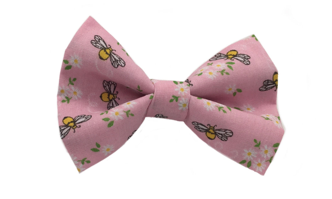 Washable cotton dog bow tie. Tiny bees and flowers printed on a pink  fabric
