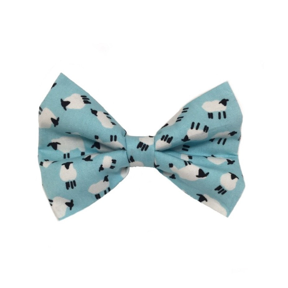 Baa Baa Blues dog bow tie