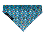 Hedgehog print dog bandana, turquoise fabric covered with multicoloured hedgehogs. Handmade washable bandana.