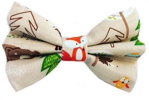 Washable cotton fabric dog bow tie in a woodland animals print- foxes and bears