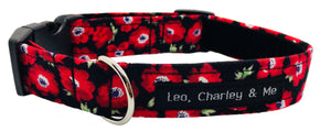 Red Poppy handmade fabric dog collar with black velvet lining