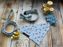 Spring Collection of Busy Bees in Blue handmade dog collar, lead, bandana, bow and collar flowers. Made in the UK and washable.