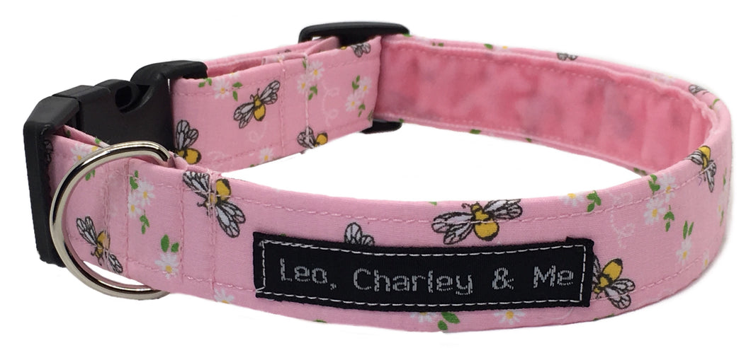 Washable cotton dog collar, Pretty pink fabric with tiny bees and flowers printed on it. Handmade in the U.K.