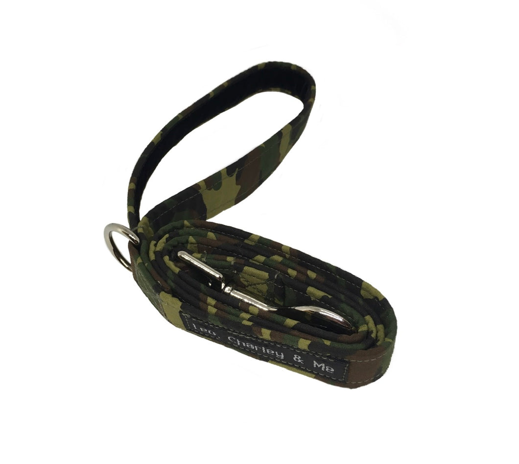 Camp Dog camouflage print dog lead. Co-ordinates with our Camo Dog collar and bandana. Handmade in the U.K. and washable.