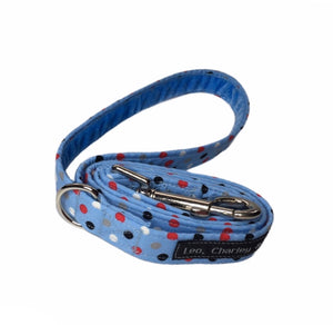 Pale blue cotton poplin fabric dog lead with red, white and blue polka dots. Named after our famous doggy model Dilyn The Downing Street Dog. Handmade and washable.