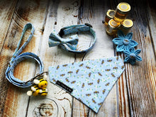 Busy Bees in Blue dog collar