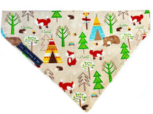 Washable cotton dog bandana with a forest scene with foxes, bears, owls and hedgehogs on it