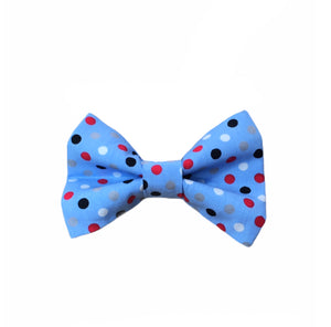 Pale blue polka dot dog bow tie. Named after our most famous doggy model. Dilyn The Downing Street Dog.