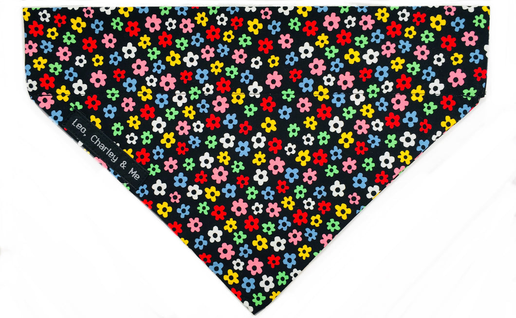 Dog bandana in Ditsy Floral multicolour print, co-ordinates with the Disty floral dog collar.