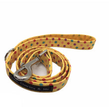 Sunshine Spot yellow dog lead, perfectly co-ordinates with our Sunshine Spot dog collar and accessories. Hand made in the U.K. and washable.