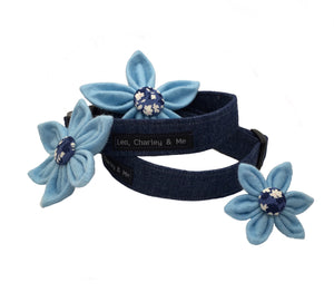 Upcycled Blue denim dog collar with flower accessories. All hand made in the U.K.