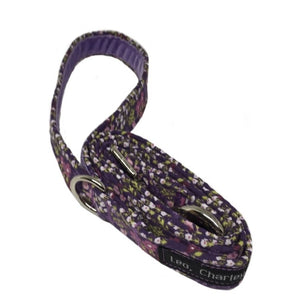 Lilac Meadow cotton print dog lead with lilac velvet lined handle. Hand made and washable.