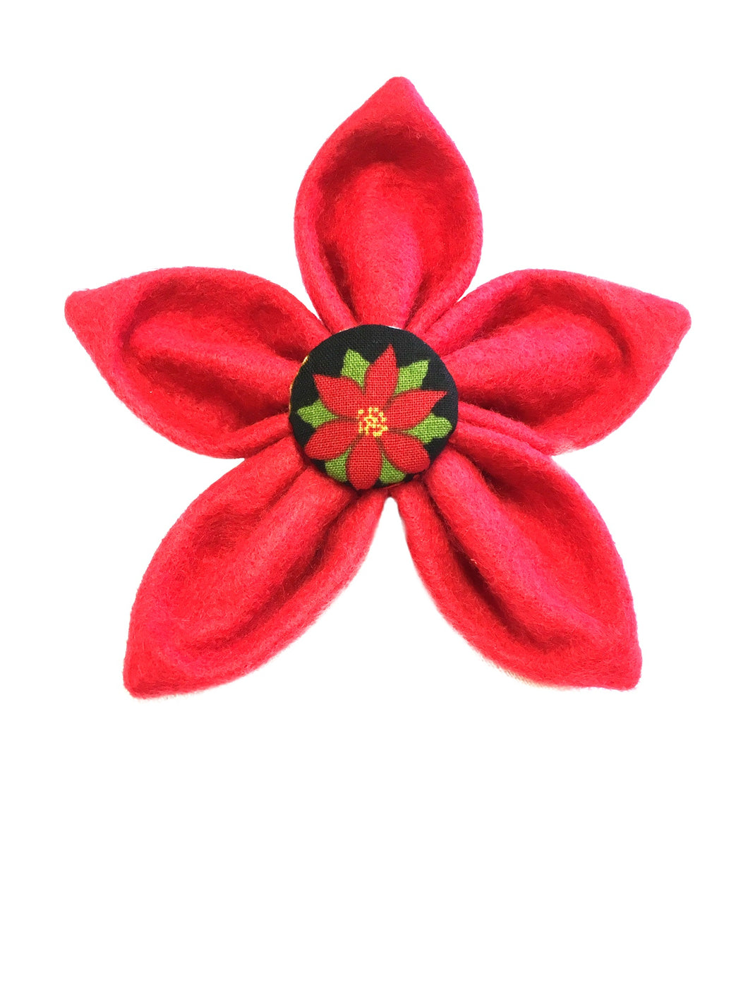 Dog collar flower in red felt with a matching cotton print covered button in the middle. Perfect for Christmas attached to your dog collar. Handmade in the U.K.