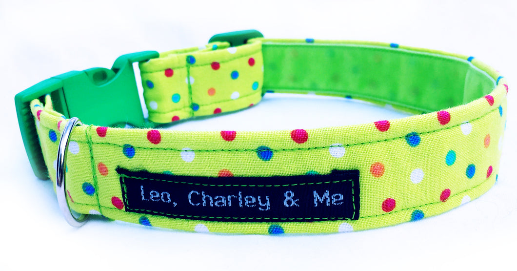 Polka dot fabric dog collar in apple green with multicolour dots. Washable and handmade in the UK