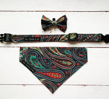 Paisley print dog collar, bandana and bow tie. Handmade in the UK and washable.