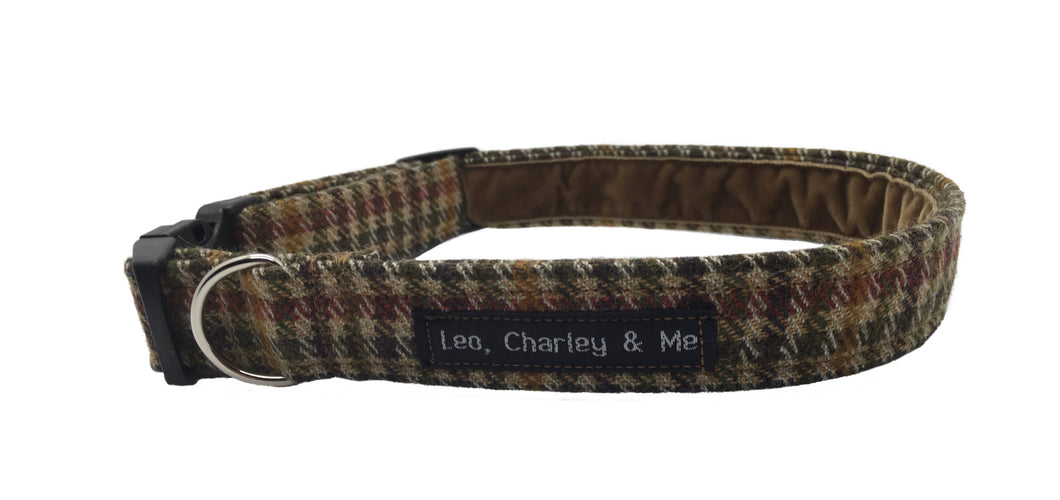 Tweed Check dog collar