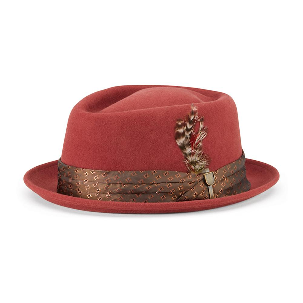 Brixton - Stout Pork Pie - Fedora Hat - Dark Brick
