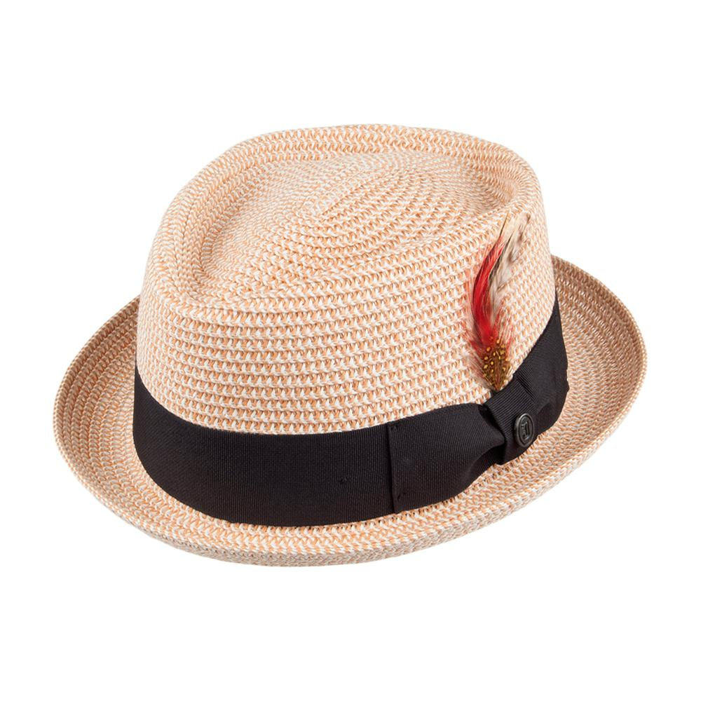 Jaxon & James - Diamond Crown Toyo Braided Pork Pie Hat - Straw Hat - Natural