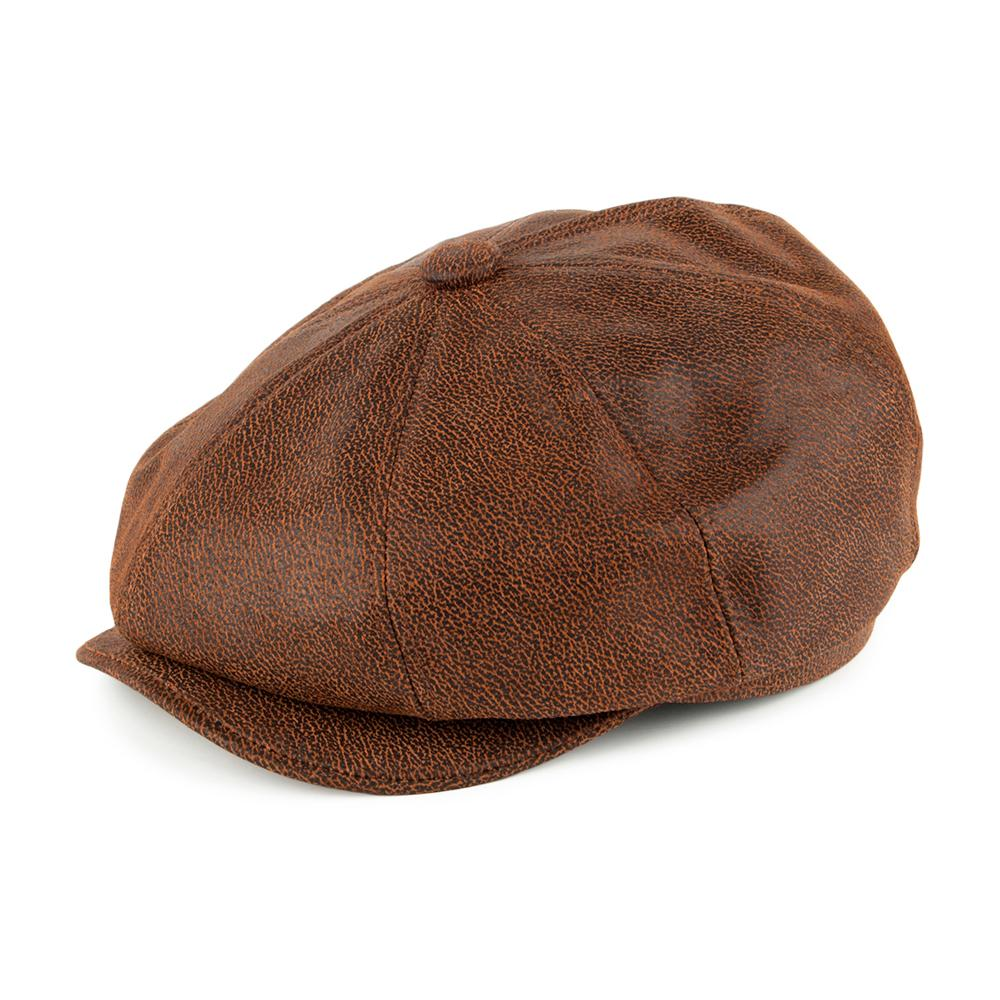 Jaxon & James - Leather Newsboy Cap - Sixpence/Flat Cap - Brown