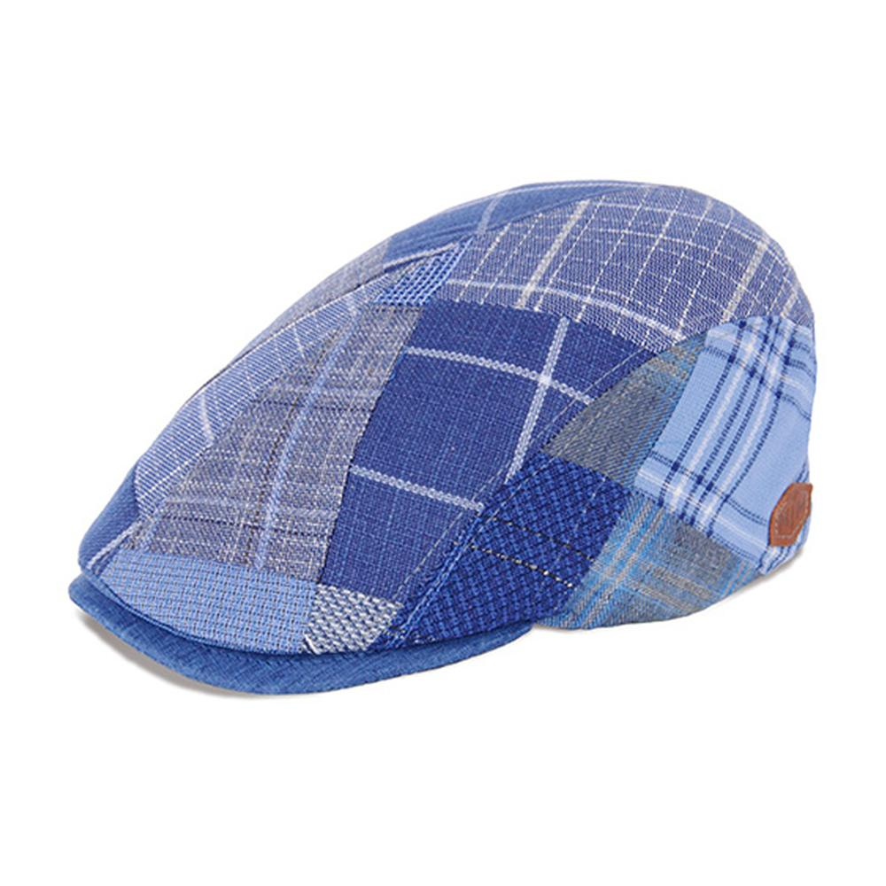 MJM Hats - Daffy 3 - Sixpence/Flat Cap - Blue Patchwork