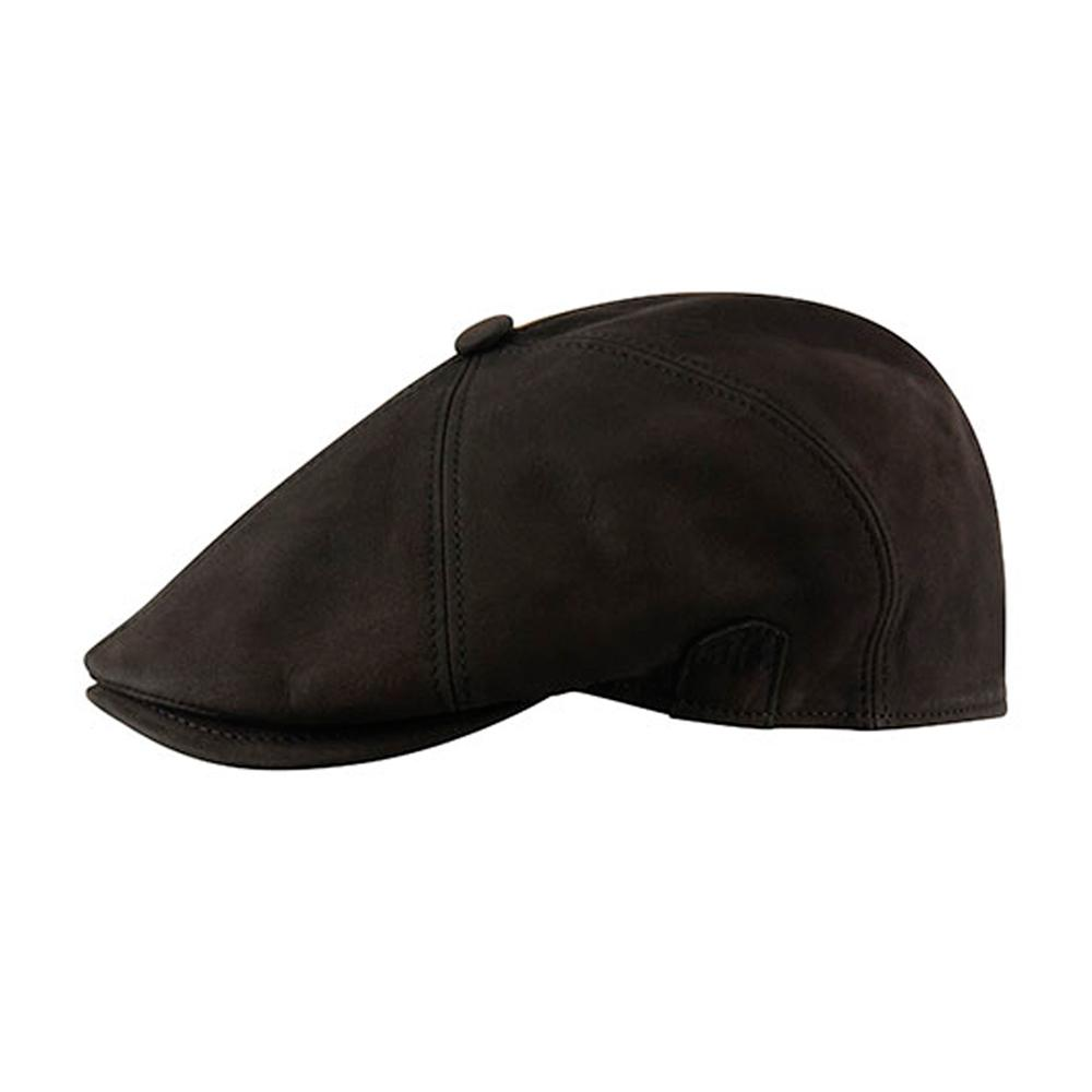 MJM Hats - Rebel Nappa Wax - Sixpence/Flat Cap - Black
