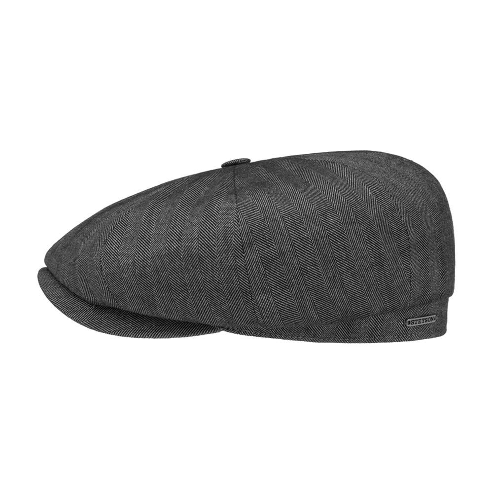Stetson - Hatteras Fine Herringbone - Sixpence/Flat Cap - Anthracite Grey